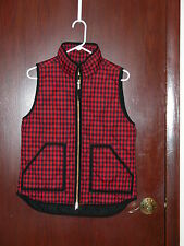 J Crew Factory printed quilted puffer vest, #02533 red/black checker/plaid Small