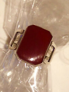 aparter Siegelring, Silber mit Karneol, Unisex, Art Deco