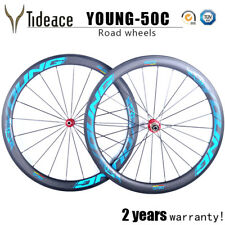 Road Bike Wheels OEM Carbon Fiber 700C Cycling 25mm Width Blue Bicycle Wheels