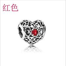 1P Red Crystal Silver Charm Bead Fit European Bracelet/ Chain