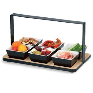 7 Pcs Wooden Appetizer Serving Snacks Dips Platter Tray Set With Metal Holder