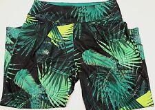 Fabletics NWT Yogi Capris Tropical Palm Print Black Green Athletic Fitness Sz S