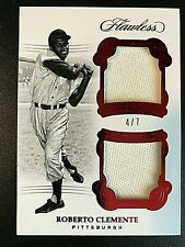 2018 Panini Flawless Ruby #RC Roberto Clemente Dual Jersey Card #4/7