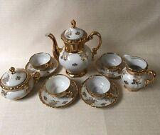 Vintage Mitterteich Bavaria  Gold White Floral Tea Set Demitasse Coffee