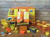 Vintage Barbie Country Camper 1970 Mattel With Huge Accessory Lot