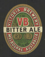 VICTORIA BREWERY BITTER ALE BEER BOTTLE LABEL 13 1/3 OZ - AUSTRALIA - UNUSED