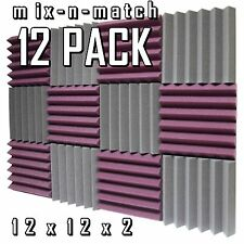 12 pack Purple/Grey Acoustic foam Soundproof Recording Studio Wall Tile wedge