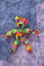 Black Light, Tiny crochet Teddy Bear, neon! Handmade