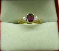 Lovely 18ct Gold Ruby And Diamond Three Stone Ladies Ring Size G.1/2
