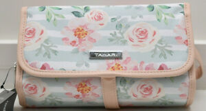 Tahari Hanging Travel Cosmetic Bag Case Makeup Peony Rose Stripe New! NWT