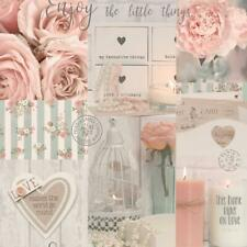 Diamond Rose Floral Glitter Wallpaper Collage Candles Pearls Teal Pink Vinyl