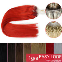 """16-26""""Thick 1G/S Micro Ring Beads Easy Loop Tip Ombre Remy Human Hair Extensions"""