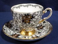 Tuscan Fine Bone China Black Design w/ Gold Flower on White Tea Cup + Saucer Set