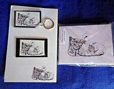 Duck and Kitten Friends 4 Pc Set-Notepad, 6 Blank Notecards, Keychain and Magnet