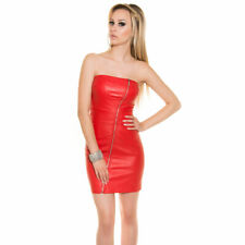 Bandeau Mini Dress Leather Look With Asymmetric Front Zip KouCla - Red