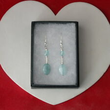 Beautiful Earrings With Brazilian Aquamarine Gems 3.6 Gr. 3.5 Cm. Long + Hooks