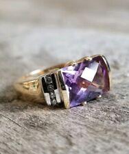 14k Yellow Gold Amethyst diamond ring size 7 Checkerboard Cushion LGL 4.97g