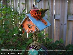 Collectable Hand Painted & Embellished BIRDHOUSE, One-of-a-Kind Art Piece Gift