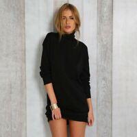 New Women Turtleneck Knitted Dress Long-Sleeve Tunic Sweater Mini Black Dress US