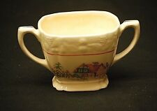"Vintage Pantry Bak-In Ware by Crooksville 3"" Open Sugar Bowl Petit Point House"