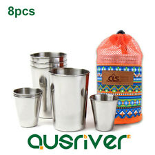 8pcs 304 Stainless Steel Picnic Cup Wine Beer Coffee Mug Outdoor Camping Travel