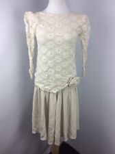 Vtg 80s Ivory Beige Lace Drop Waist Flapper Puff Evening Gown Prom Dress M/L