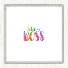Like A Boss Rainbow Quote Drinks Mat Coaster