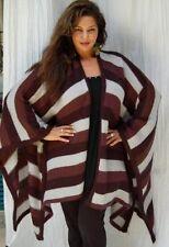 black brown poncho rauna stripe knit one size M L XL 1X 2X 3X zr590