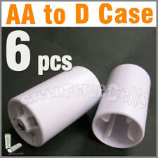 6 pcs battery Adaptor Converter Case 2A AA to D White