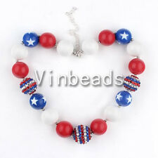 Whole Kid Necklace For July 4th Chunky Beads Bubblegum Gumball Jewlery 23