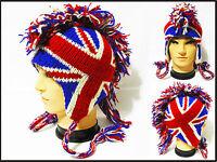 Mohawk british flag Hat cap beanie Pilot handmade 100% Wool W/ Fleece lining!