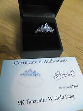 stunning AA Tanzanite &  9K white GOLD ring size N Gems TV TJC