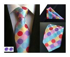 À Pois Cravate Poche Carré Ensemble Multicolore Motif Fait à la Main 100% Silk