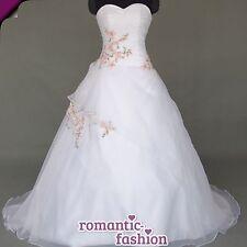 ♥ nuevo: tamaño 34-54 vestido de novia, vestido de novia blanco con Rosa + nuevo + inmediatamente +w069 ♥