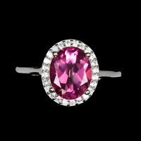 Oval AAA Pink Topaz 9x7mm White Cz 14K White Gold Plate 925 Sterling Silver Ring
