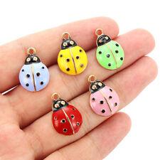 10pc Ladybug Enamel Alloy Animal Charms Pendant DIY Bracelets&Necklace Accessory