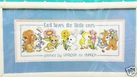 Counted Cross Stitch Baby Sampler Kit God Loves the Little Ones New Vintage 1991