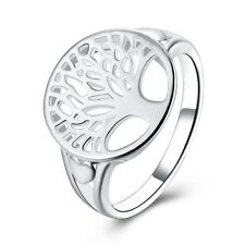 Fashion 925Sterling Solid Silver Jewelry Tree Rings For Women R892