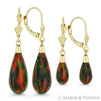 Fiery Black Lab Opal 14k Yellow Gold Leverback-Post Tear-Drop Dangling Earrings