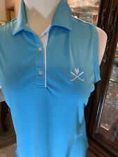 Golf L Womans Footjoy Shirt Large Turquoise Blue Top Polo Athletic Fj Rugby