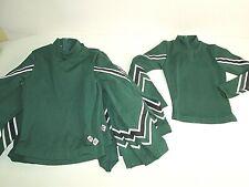 13 Cheerleader Uniform Team Tops Hunter Green White CDT Brand All Youth Medium