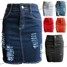 Womens Ladies Ripped Frayed Distressed High Waist Jean Denim Bodycon Short Skirt