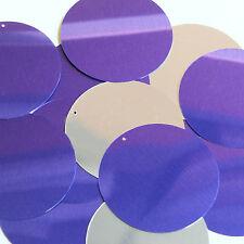 "Purple Silver Metallic Sequins Round 2"" Large Couture Paillettes"