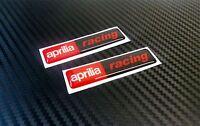 2 ADESIVI APRILIA RACING RESINATI ADESIVO RESINATO 3D STICKERS 6X1,4 CM COD.09DE