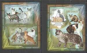 CA837 2012 CENTRAL AFRICA FAUNA PETS CATS LES CHATS BL+KB MNH