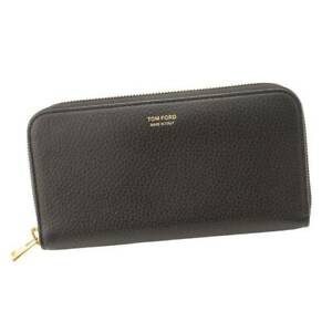 Authentic Tom Ford Round Zipper Wallet Leather Y0241T-018 Black Used Grade A