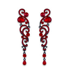 VINTAGE INSPIRED RUBY RED CUBIC ZIRCONIA LONG DANGLE STATEMENT EARRINGS