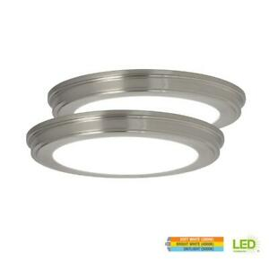 Commercial Electric 13 in. Brushed Nickel Color Changing LED Ceiling Flush Mount