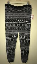 Mossimo Women Holiday Xmas Snowflake Reindeer Black Knit Leggings Pants Size XXL