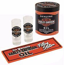 Harley-Davidson® Oil Can, Shot Glasses & 9